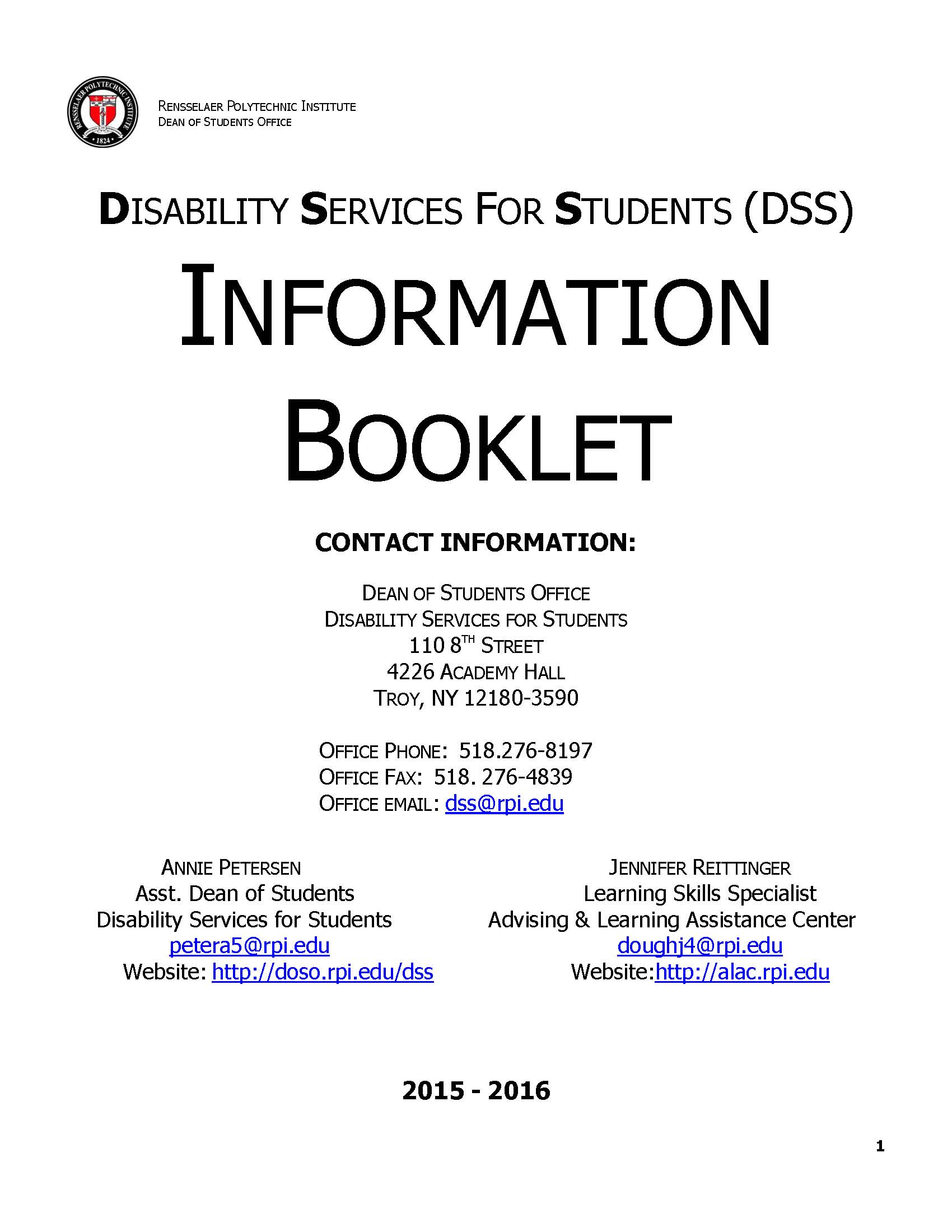 image of DSS Info Booklet
