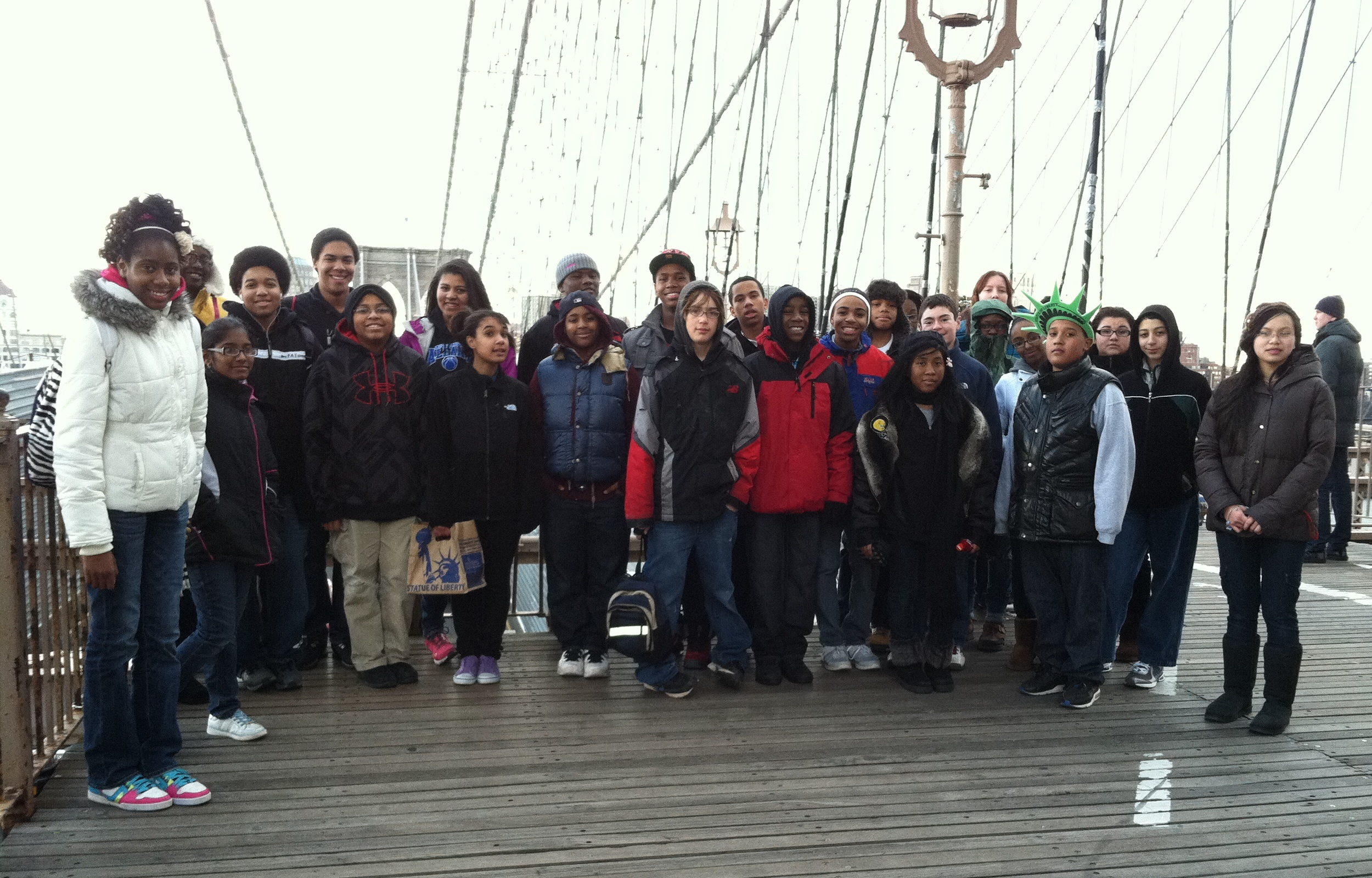 RPI STEP students at the Brooklyn Bridge in New York City, February 25, 2012, at the beginning of the Engineering Lower Manhattan program.