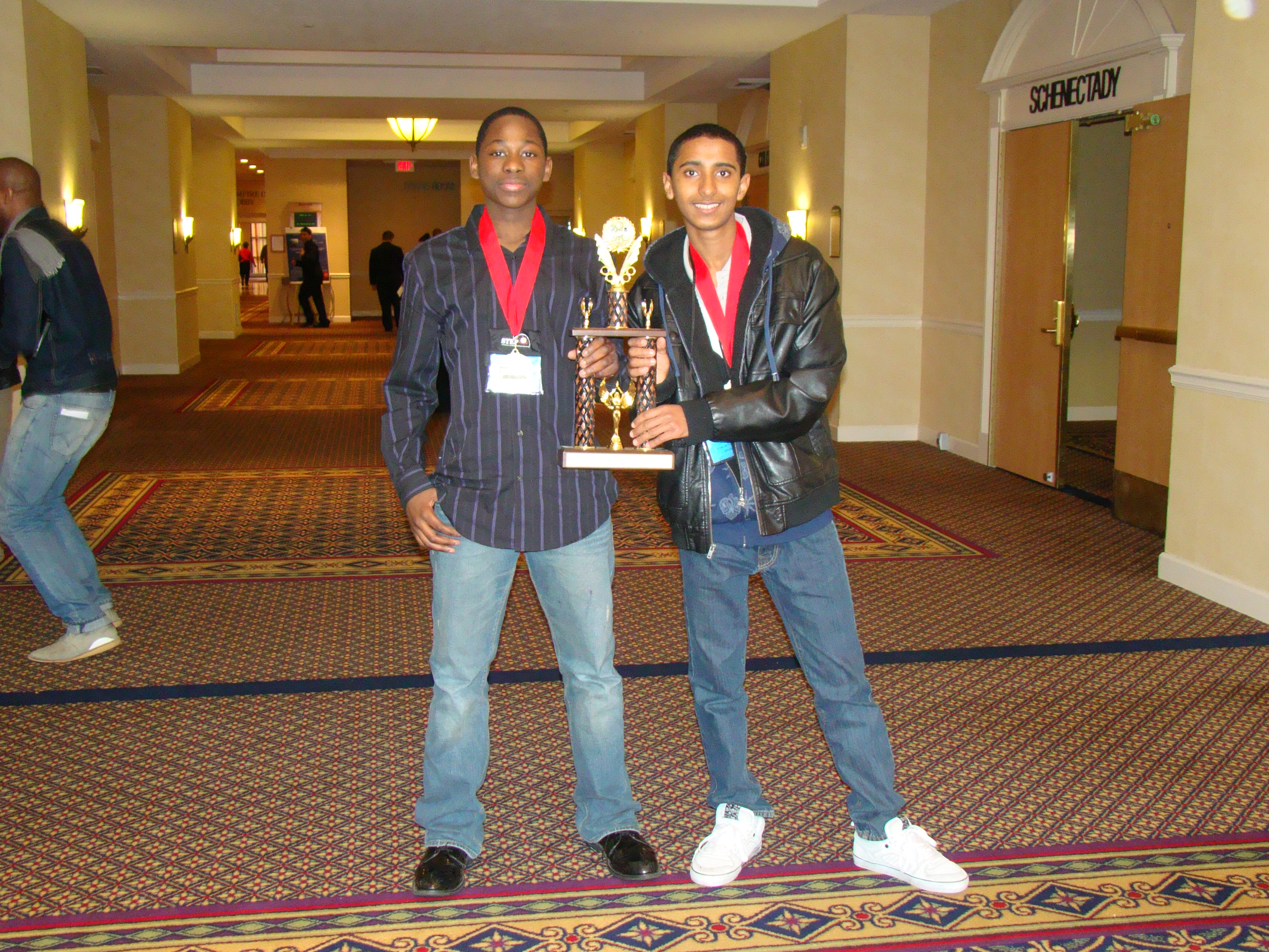 13th Annual STEP Statewide Student Conference, 2011 - Biological & Life Sciences, 3rd place winners: <em>How is fluoridation affecting local schools?</em> Shown from left, Khalil Stewart and Gedielem Girma; missing from picture, Cerrone Cunningham.