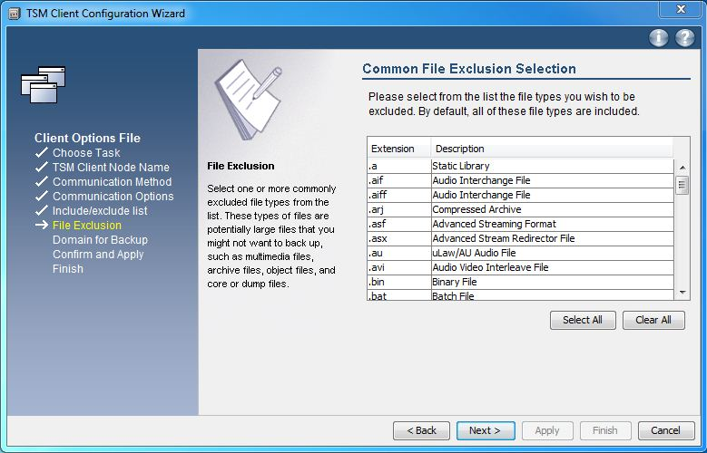 file exclude lists