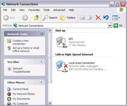 windows xp network settings