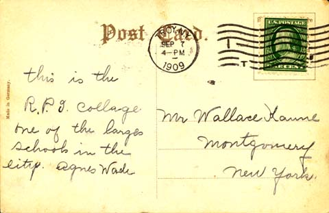 Postcard views of rpi sample postcard message from the early 1900s altavistaventures Choice Image